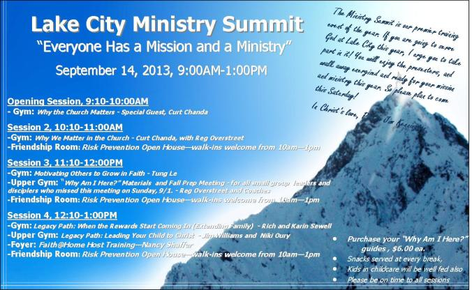 Ministry Summit Schedule, 2013